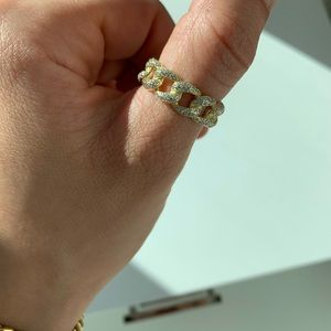 gold diamond chain link ring